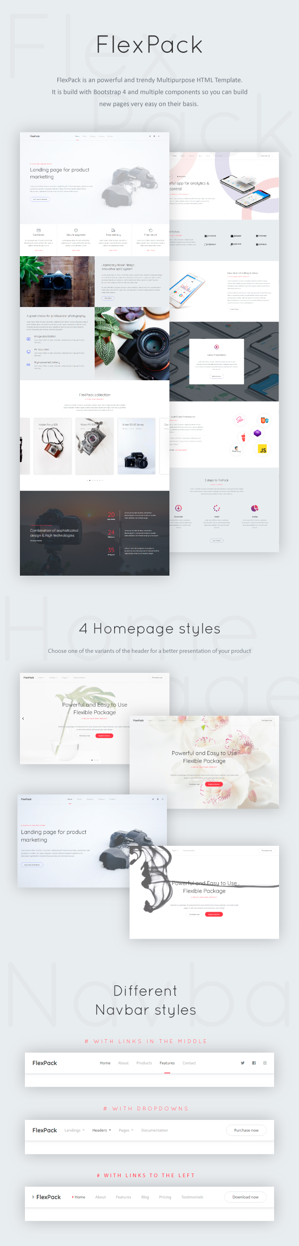 FlexPack - Multipurpose HTML Landing Pages Package - 1